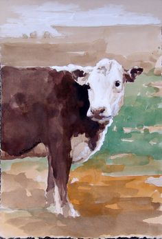 Brown cow white faced cow watercolor painting 11 x 7.5 inches cow art landscape art original watercolor acrylic painting