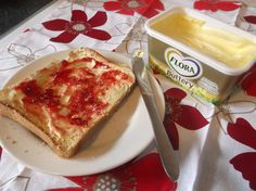 Daughter's favourite: Fresh crusty bread, toasted and topped with lashings of Flora Buttery and seedless raspberry jam. I'm a Bzz Agent! Raspberry, French Toast, Flora, Bread, Breakfast, Products, Morning Coffee, Brot, Plants