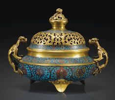 A RARE GILT-BRONZE AND CLOISONNÉ ENAMEL CENSER AND COVER, MING DYNASTY, 16TH CENTURY