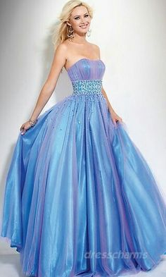 Tube Ball Gown Prom Dresses Blue Long Prom Dresses 00782 (she looks like a fairy tale character! Strapless Prom Dresses, Ball Gowns Prom, Tulle Prom Dress, Prom Dresses Blue, Quinceanera Dresses, Homecoming Dresses, Evening Dresses, Formal Dresses, Strapless Organza