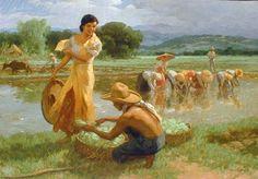 Fruit pickers harvesting under the mango tree - filipino paintings ...