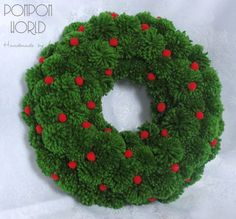 "Pompom Christmas wreath, Pom pom, Holiday, Red, Green, Decoration, Wall, Door, 24 cm, 9,5"", Fluffy, Home Decoration, Holiday decoration"