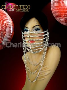 Charismatico Dancewear Store - CHARISMATICO Cage Style Rhinestone Crystal Diva Mouth Mask with Necklace Dangles, $170.00 (http://www.charismatico-dancewear.com/products/CHARISMATICO-Cage-Style-Rhinestone-Crystal-Diva-Mouth-Mask-with-Necklace-Dangles.html)