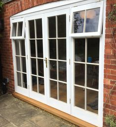 Georgan style painted Accoya French doors with fixed sidelights with fanlights over. Timber Windows, Door Sets, Joinery, French Doors, Garage Doors, Outdoor Decor, Home Decor, Style, Carving