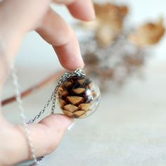Resin jewelry glass vial necklace, pine cone necklace nature necklace, gift under 45, woodland necklace, wholesale