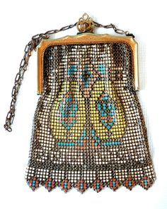 ~Whiting & Davis~Art Deco Enamel Mesh Purse~Circa 1910-1930s~