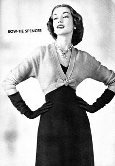 Bow-Tie Spencer vintage knitting pattern - 1952