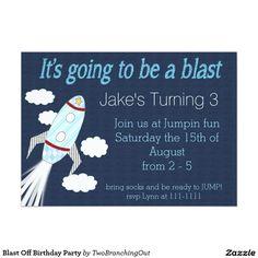Blast Off Birthday Party Card