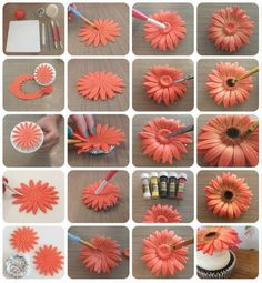 Gerbera Flower Turorial - Step by step - CakesDecor Cake decorating tips and tricks Hello lovely cakers, not sure if this is of any use to any one, as there are already some great ways to make these pretty flowers, but this is the way I like to make my ow Sugar Paste Flowers, Icing Flowers, Fondant Flowers, Paper Flowers, Flowers For Cakes, Flower Cakes, Diy Flowers, Cake Decorating Supplies, Cake Decorating Techniques