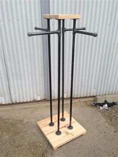 indu 4 way retail fixture made with Reclaimed Douglas Fir Wood and Black Iron by Ecowood Displays