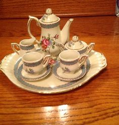 Antique Miniature Tea Set Green and White | eBay