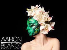Maquillaje realizado por Aarón Blanco con aguacolores a pincel. Modelo: Anastasia Kouras Fotografía: J. Alfaro García  www.aaronblanco.com