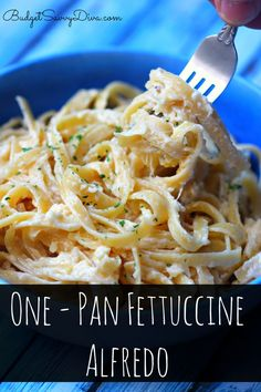 One of the EASIEST Recipes EVER!!! The pasta COOKS in the pan with the heavy cream!!! Every picky eater will love it ! One – Pan Fettuccine Alfredo Recipe #pasta #recipe #alfredo #budgetsavvydiva via budgetsavvydiva.com