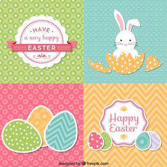 Conjunto de lindas tarjetas de pascua. Vector Gratis con atribución.