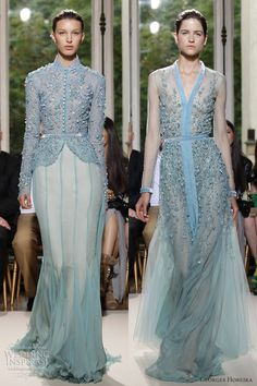 Lovely gowns from Georges Hobeika Fall/Winter couture collection. Sheer skirts that seem to float, delicate floral details, beribboned funnel necklines — this looks Couture Fashion, Runway Fashion, Fashion Show, Beautiful Gowns, Beautiful Outfits, Couture Dresses, Fashion Dresses, Blue Gown, Gowns With Sleeves