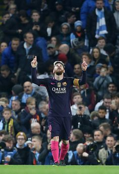 Lionel Messi of FC Barcelona celebrates his goal during the UEFA Champions League match between Manchester City FC and FC Barcelona at Etihad Stadium...