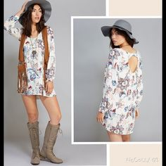 """NWT Boho Floral Dress Sz S gauzy woven fabric, vintage-inspired floral print, keyhole back, and super flowy fit. Bust 34""""  V-Neckline Long Sleeves Pull-on Construction Unlined 31"""" From Shoulder to Hem Rayon Machine Wash Imported Dresses"""
