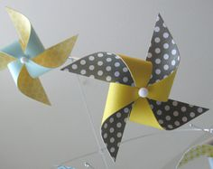 Ceiling Hung Baby Mobile / Nursery Mobile / Crib Mobile / Yellow, Grey, Blue and White / Boy or Girl : Chickadee