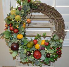 Fruit Wreath Kitchen Wreath Fall Wreath Apple by TheBloomingWreath, $49.99