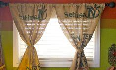 burlap sack as curtain Burlap Coffee Bags, Coffee Sacks, Rv Curtains, Burlap Curtains, Kitchen Vent Hood, Burlap Sacks, Cabin Kitchens, Rustic Decor, Repurposed
