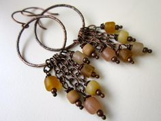 TortoiseShell - wire wrapped brown, caramel, nude, and fawn Indonesian recycled glass beads and hammered copper hoop chandelier earring pair by LoveRoot, $18.00