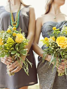 unfussy yellow and green bridesmaids bouquet