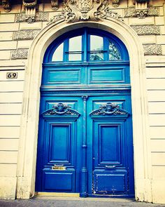 Photograph of an old, cerulean blue door in Montmartre, Paris, France. Fine art Paris travel and landscape photography by Tracey Capone. This photograph is available as a ready to hang print on wood or as an archival Lustre print. Paris Wall Decor, Home Decor Wall Art, Portal, Cool Doors, European Home Decor, Front Door Colors, Paris Photography, Entrance Doors, Grand Entrance