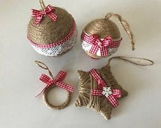 Items similar to Set of 4 twine ornaments for rustic Christmas decor Country home decor Housewarming gift Wreath ornament Star ornament Farmhouse xmas decor on Etsy Rustic Christmas Ornaments, Handmade Christmas Decorations, Christmas Angels, Christmas Tree Decorations, Christmas Wreaths, Star Ornament, Christmas Crafts, Crochet Christmas, Etsy Shop