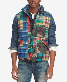9164e6d5913 Polo Ralph Lauren Men s Patchwork Water-Repellent Down Vest   Reviews -  Coats   Jackets - Men - Macy s