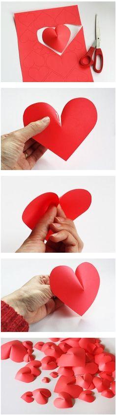 corazones de papel para san valentin