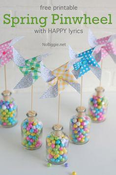 Spring pinwheels - a free printable on NoBiggie.net
