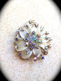 Ivory Rhinestone Vintage Brooch- Vintage Jewelry Pin Brooch- Rhinestone Brooch…