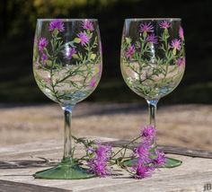 Wildflowers- hand painted wine glasses by Ashley Schroeder at Wildcalling on Etsy