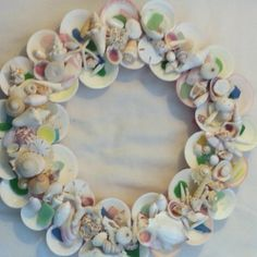 Seashell & seaglass wreath I made from all my beachcombing treasures
