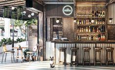 Deco Restaurant, Rustic Restaurant, Restaurant Concept, Coffee Shop Interior Design, Cafe Interior, Cafe Design, Industrial Coffee Shop, Vintage Industrial, Rustic Cafe