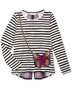 Jessica Simpson Girls' Renesmee Striped Purse Graphic-Print T-Shirt - Shirts…
