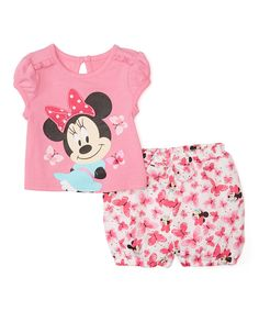 Pink Minnie Mouse Cap-Sleeve Tee & Bloomers Set - Infant by Disney Baby #zulily #zulilyfinds