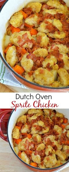 We make this at every campout! So yummy! Chicken, potatoes, carrots and bacon all cooked in a dutch oven.