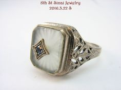 NEW Art Deco Sterling Silver 925 Camphor Glass Sapphire Filigree Ring Size 8 #Unbranded