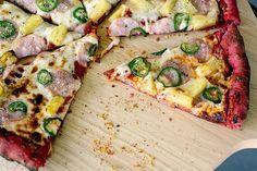 Pig Pineapple & Jalapeno Pizza on Beet Crust