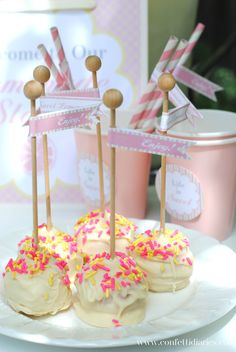 Loving this Pink Lemonade Stand Playdate by Katrina's Paperie | http://doublefunparties.com/2014/07/07/guest-party-pink-lemonade-play-date-party/ #lemonadestand #cakepops