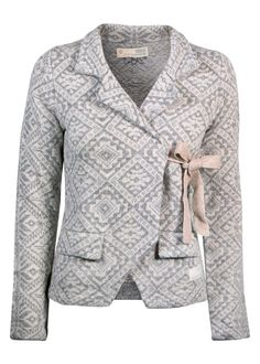 Odd Molly Cardigan mønstret - Lovely Knit Jacket 916M-233 light grey melange – Acorns