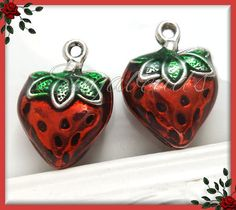 Four 3-D Metal and Enamel Strawberry Charms 20mm by sugabeads