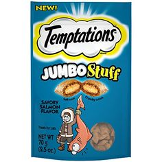 TEMPTATIONS Jumbo Stuff Savory Salmon Flavor Cat Treats 25 Ounces Pack of 12 -- Continue to the product at the image link. (This is an affiliate link) #CatTreats