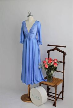 51e24b3bac Rare Sexy Soft Periwinkle Blue Stretch Lace V neck Bodice with Sleeves Long  Full Sweep Maxi Lingerie Gown by OLGA 92470 size XL