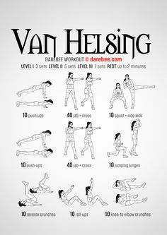 Van Helsing Workout - Full Body Strength Toning with focus on Shoulders Triceps Core Lats Butt & Legs (aka The Get'er Done Workout! Nerd Fitness, Fitness Diet, Fitness Motivation, Superhero Workout, Darebee, Wednesday Motivation, I Work Out, Workout Challenge, Excercise