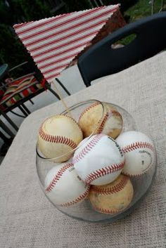 Put baseballs in a jar!!!  That would be cute  in a boys room!