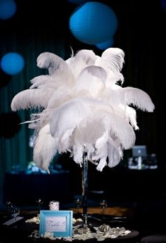 Feather wedding centerpieces 1920's inspired