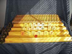 Vintage MahJong Set Two Tone Butterscotch/Black Bakelite 4 Racks 151 Tiles GUC
