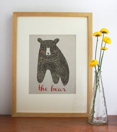 The Bear Print  Free US Shipping by Gingiber on Etsy, $23.00